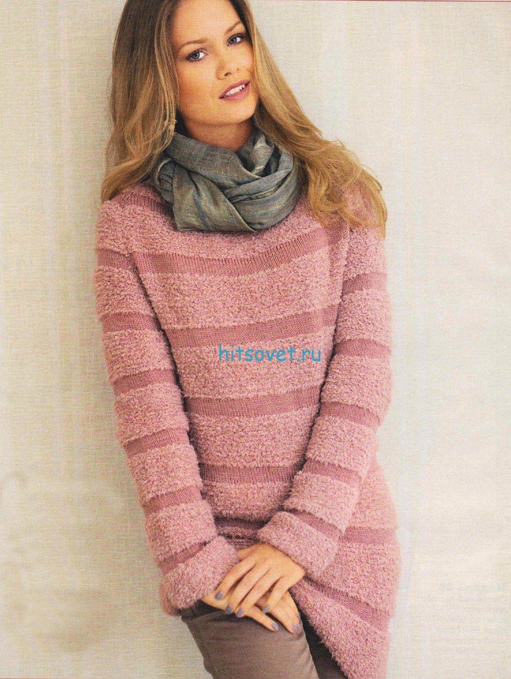 Удлиненный пуловер в полоску свободного покроя спицами