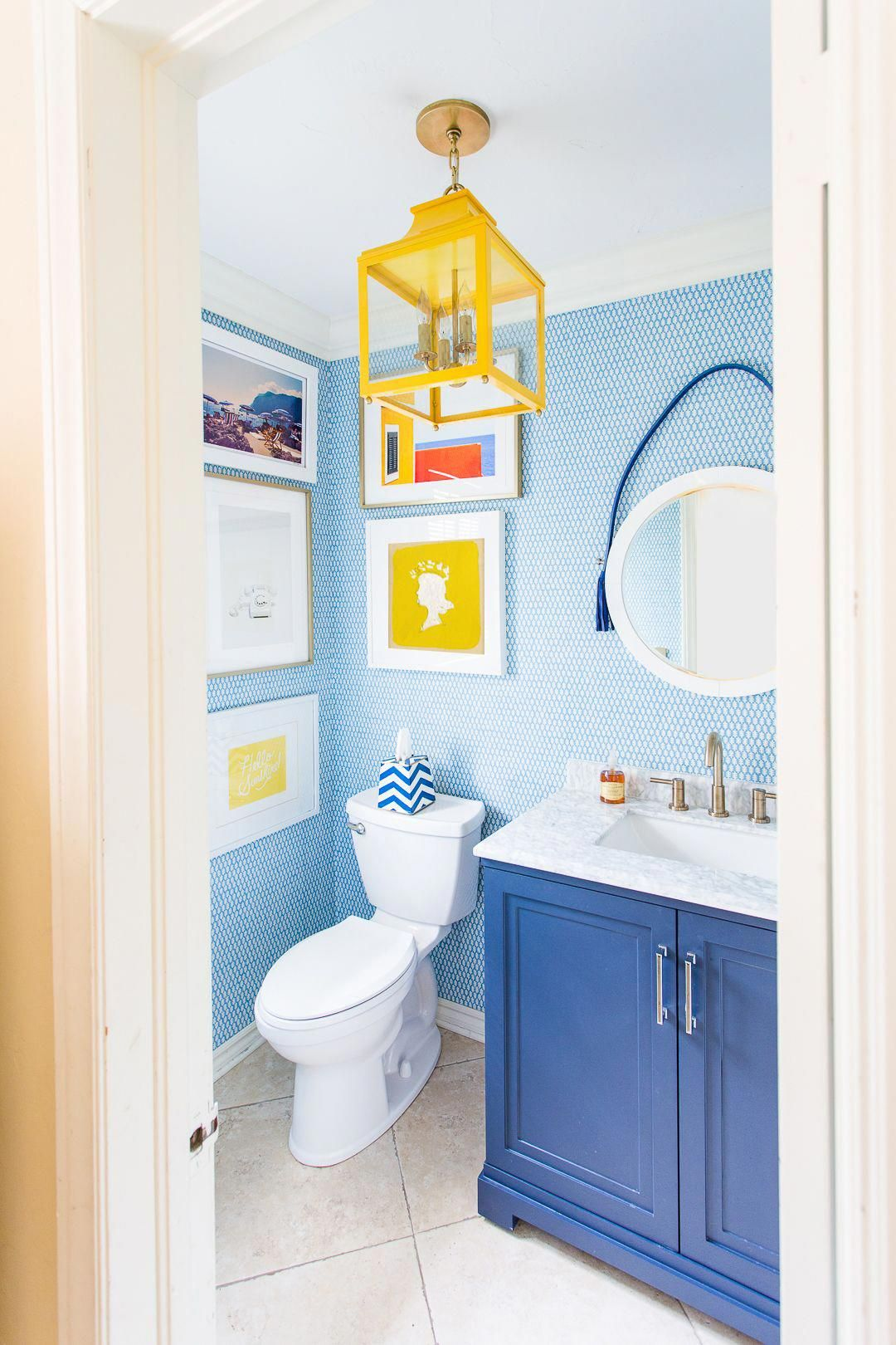 Blue And White Powder Bathroom With Navy Blue Vanity Round Mirror Mitzi Yellow Leigh Lantern Colo Kid Bathroom Decor Yellow Bathroom Decor Bathroom Colors