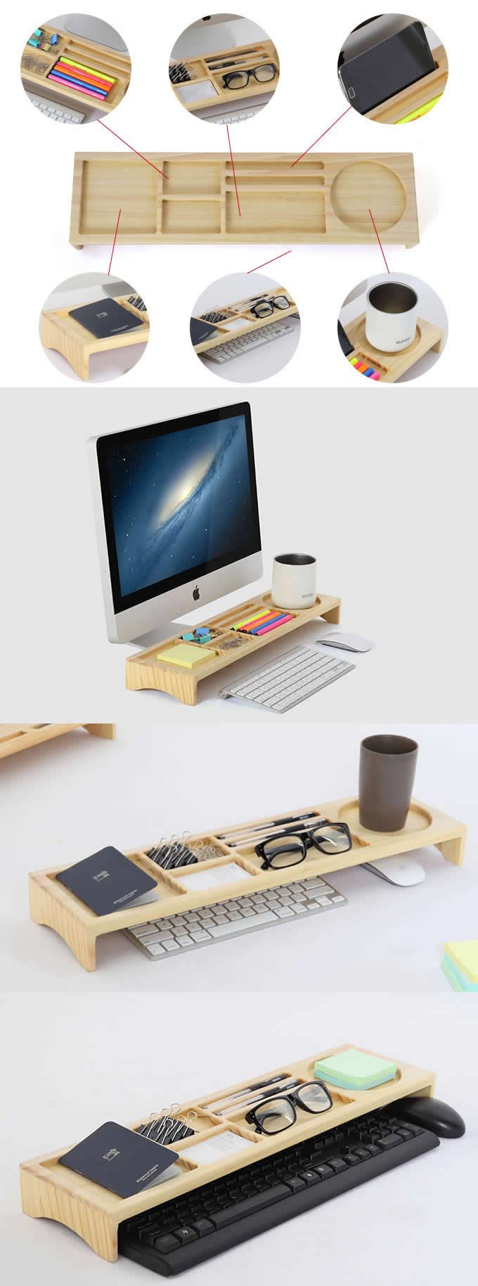 Wooden Stationery Office Desk Organizer Phone Stand Holder Pen Holder Over The Keyboard Office