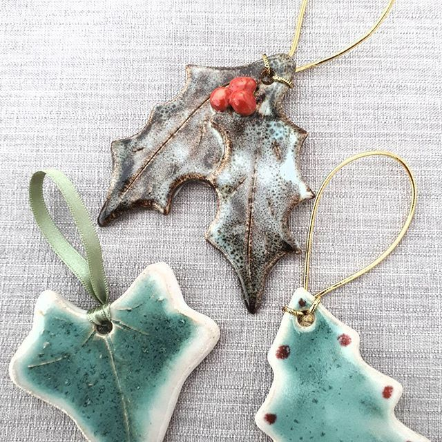 Pottery Christmas Decorations Handmade In North Devon Dos Dave Rodgers Pottery Holly Christmas Handmade Christmas Decorations Christmas Decorations Pottery