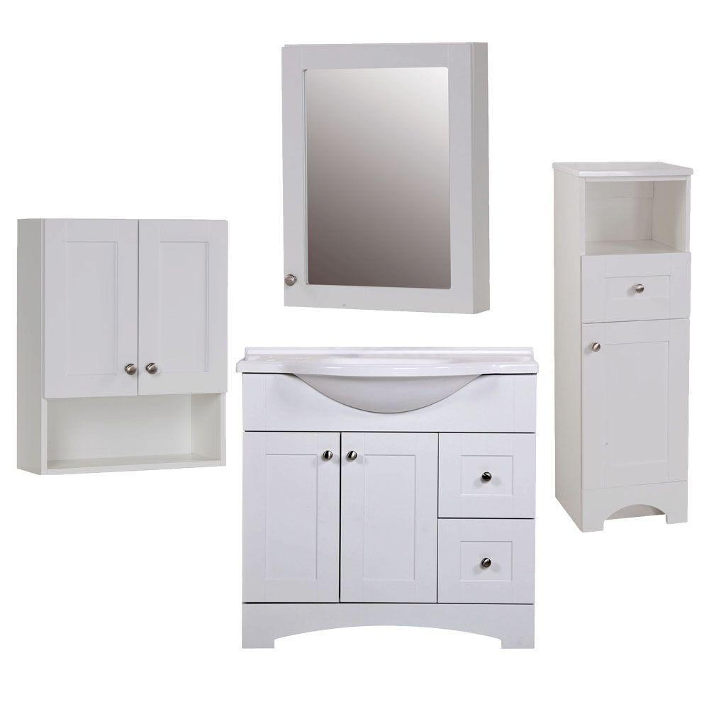 Glacier Bay Del Mar 4 Piece Bath Suite In White With 37 In Bath Vanity With Top Linen Cabinet Wall Cabinet Medicine Cabinet Bsdm36mcp4com W The Home Depot