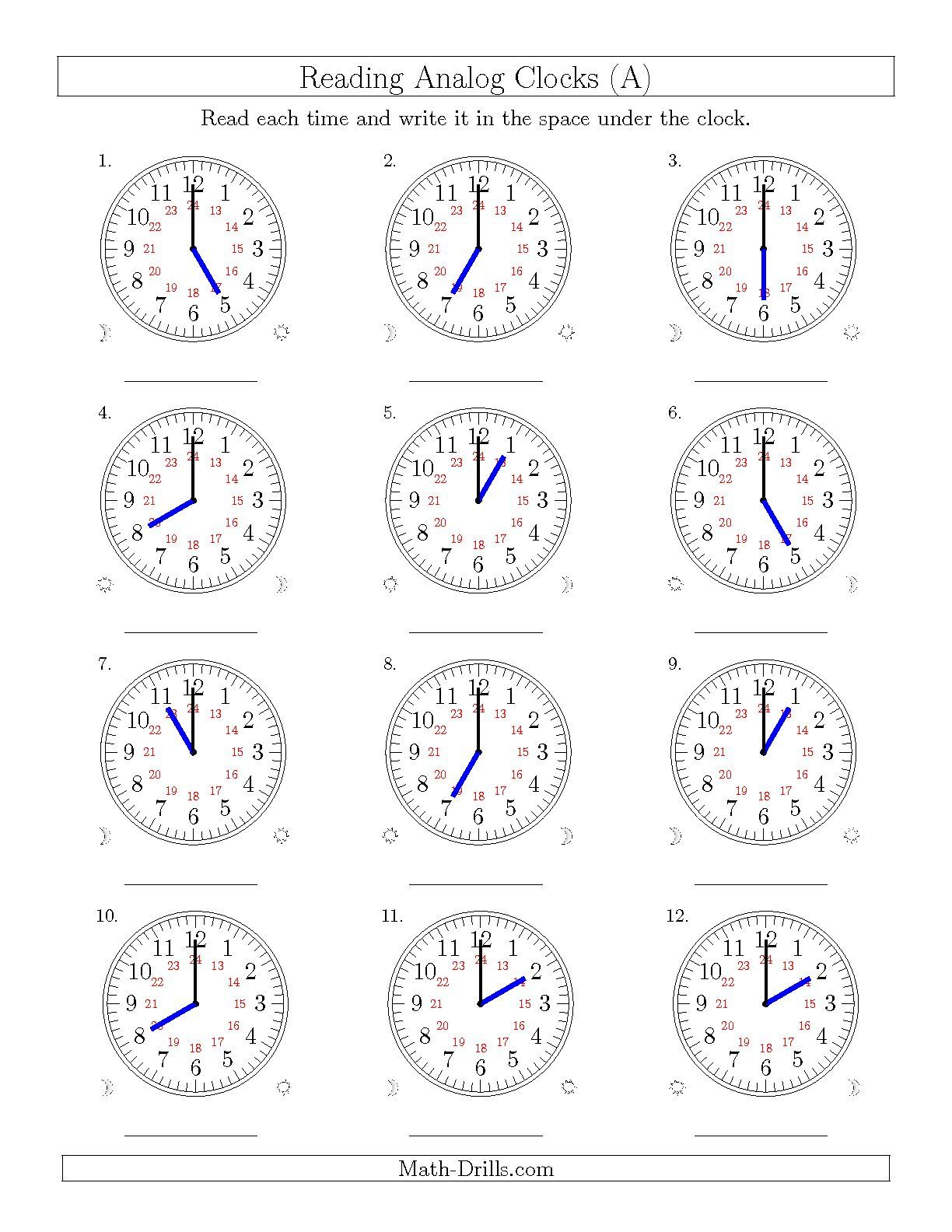 The Reading Time On 24 Hour Analog Clocks In Hour Intervals A