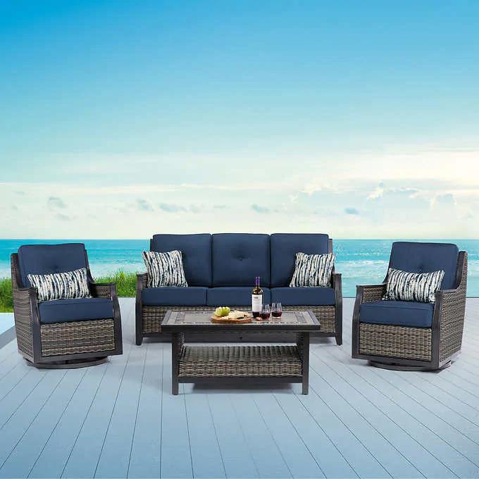 Bridgeport 4 Piece Deep Seating In 2020 Deep Seating Patio Furniture For Sale Conversation Set Patio