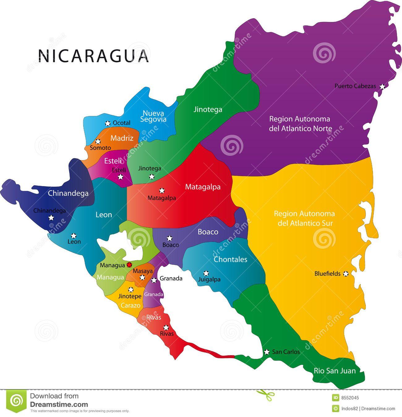 Mapa De Nicaragua Managua Nicaragua Puerto Cabezas