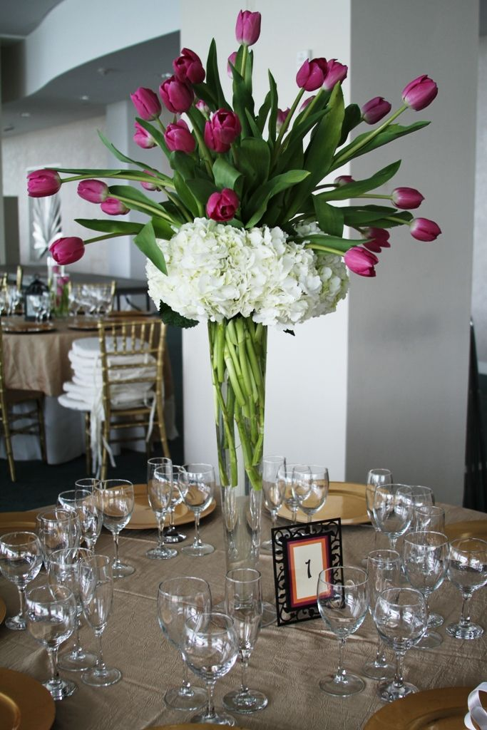 White hydrangea purple tulips centerpieces these are