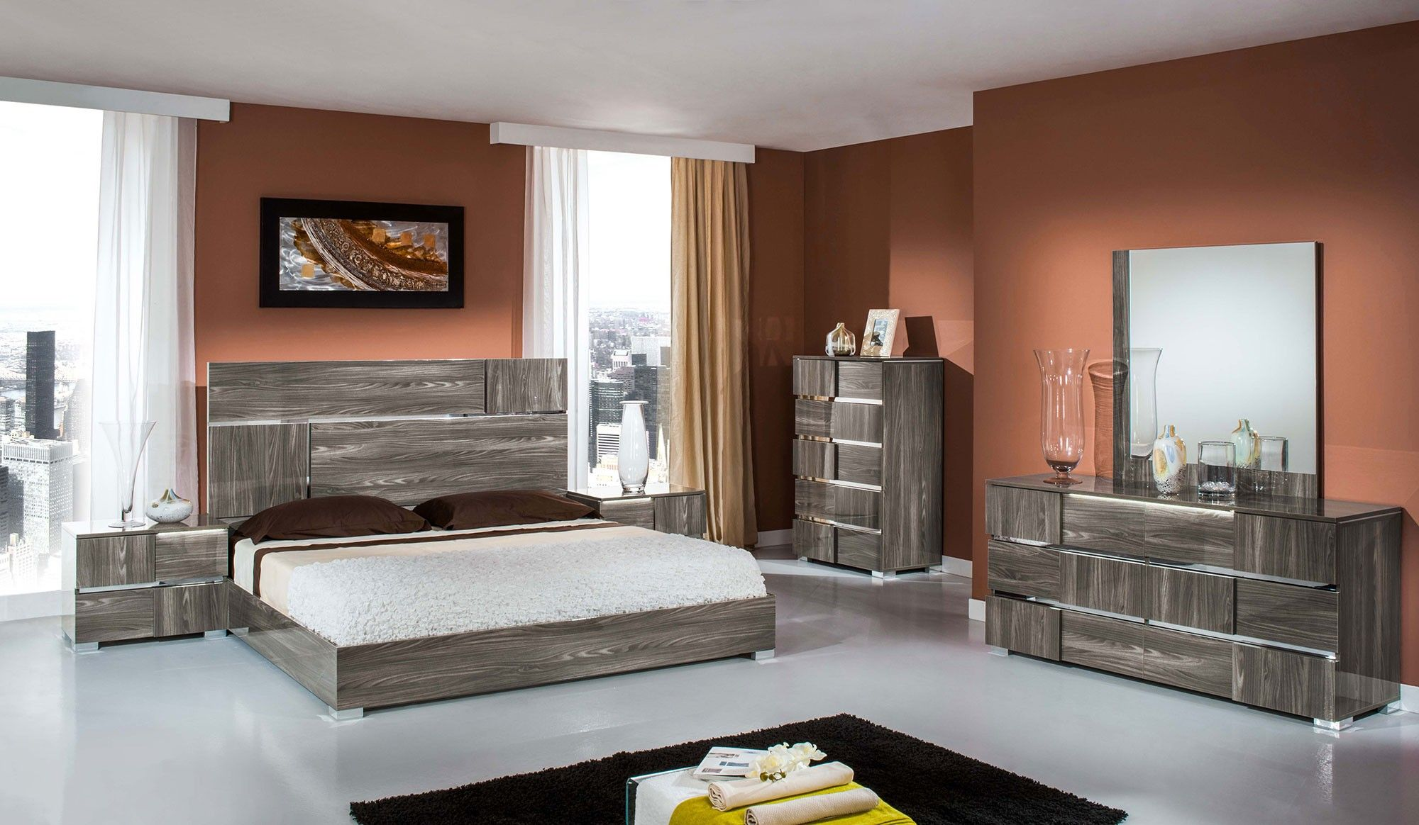 Picasso Italian Modern Grey Lacquer Bedroom Set Modern