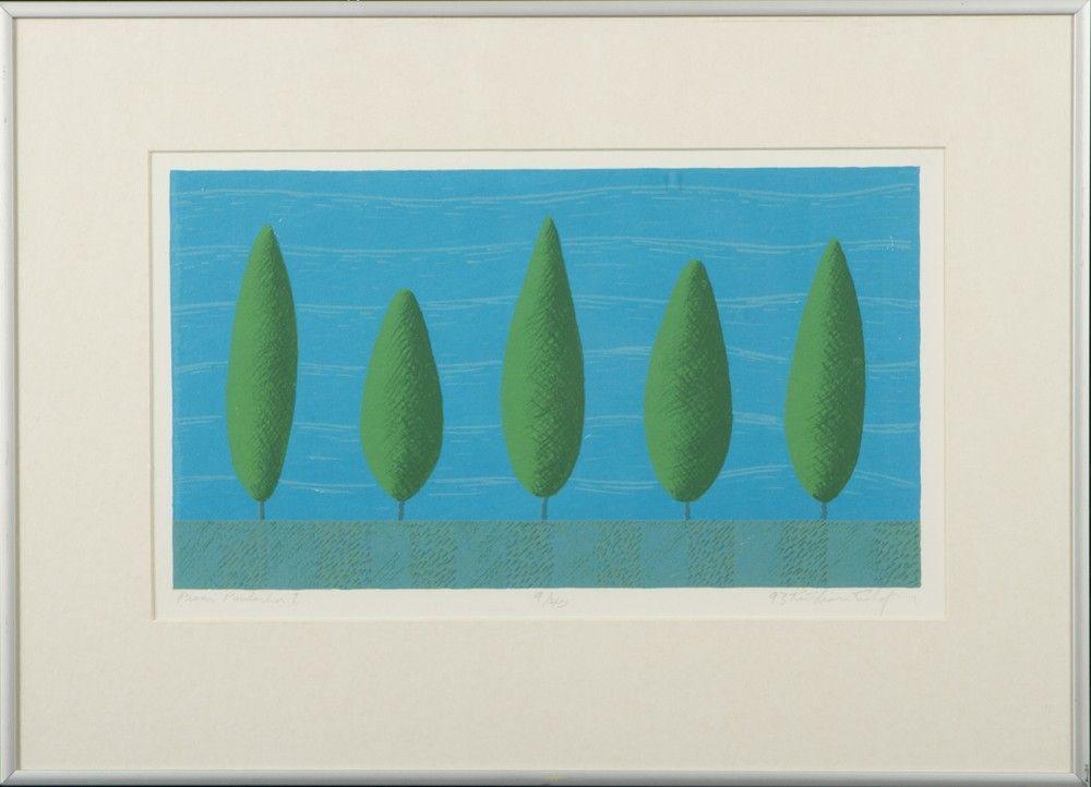 Kristian Krokfors: Pieni puutarha 1, 1993, 20x34 cm, edition 9/40  - Hagelstam A127