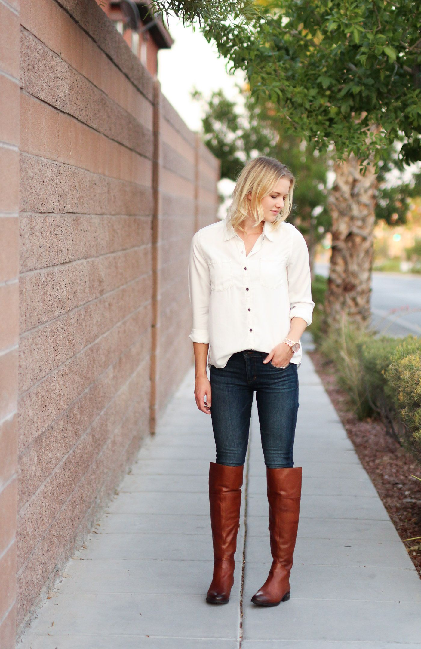 Over The Knee Boots with Skinny Jeans and White Button-Up Shirt | Women's Fall Fashion Outfit