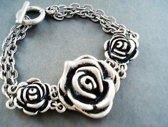 Flower Bracelet Rose Jewelry Silver Bracelet by BeadPassionbyAB