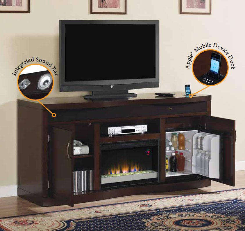 Great The Endzone Features A ClassicFlame Electric Fireplace, Apple® Compatible  Dock, Integrated Sound Bar And A Mini Thermoelectric Beverage Cooler.