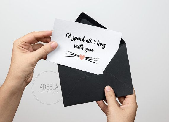 Id spend all 9 lives with you, Cat, Notecard, Greeting Card, Love Message, Instant Download, Valentines, Anniversary, Birthday, 5×7 Card