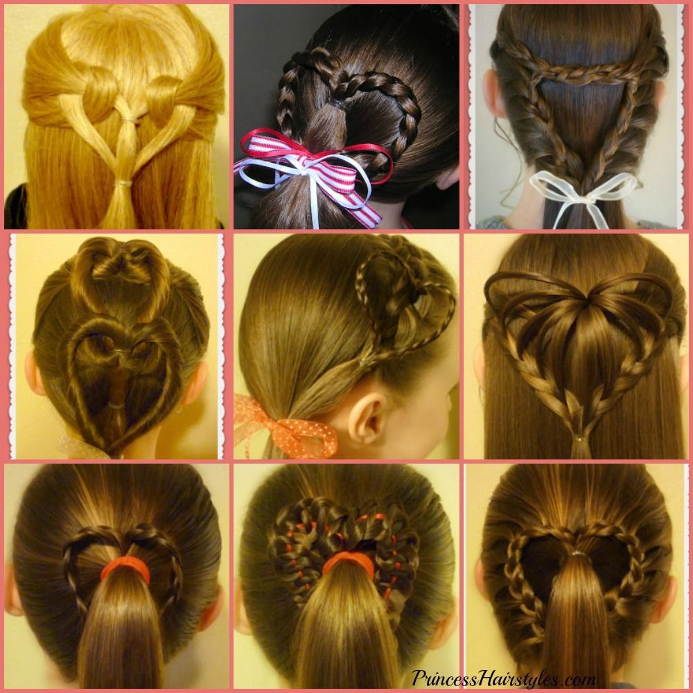 Heart Hairstyles Compilation 9 Ways To Make A Heart In Your Hair Valentines Hairstyles Hair Tutorial Hair Styles