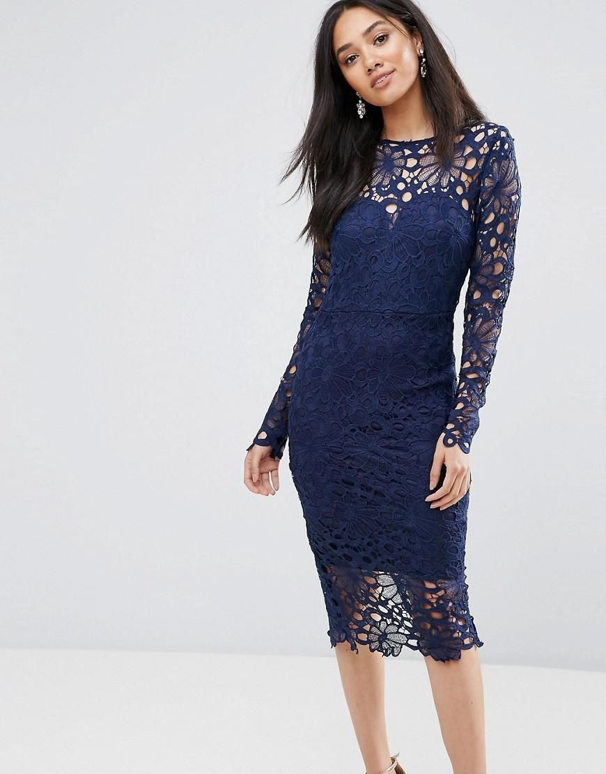 Asos ax paris ax paris navy lace midi dress with cut out detail