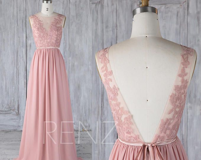 Blush Chiffon Lace Bridesmaid Dress, Cap Sleeve Wedding Dress, Party ...