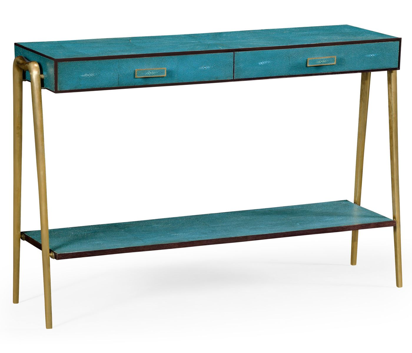TOP PICK By Beth Dotolo + Carolina V Gentry - http://pulpdesignstudios.com - Jonathan Charles - Shagreen Console Table - CBright teal faux shagreen energizes the design, complementing the brass legs and drawer pulls. Showroom: 200 N. Hamilton Suite 125 #hpmkt