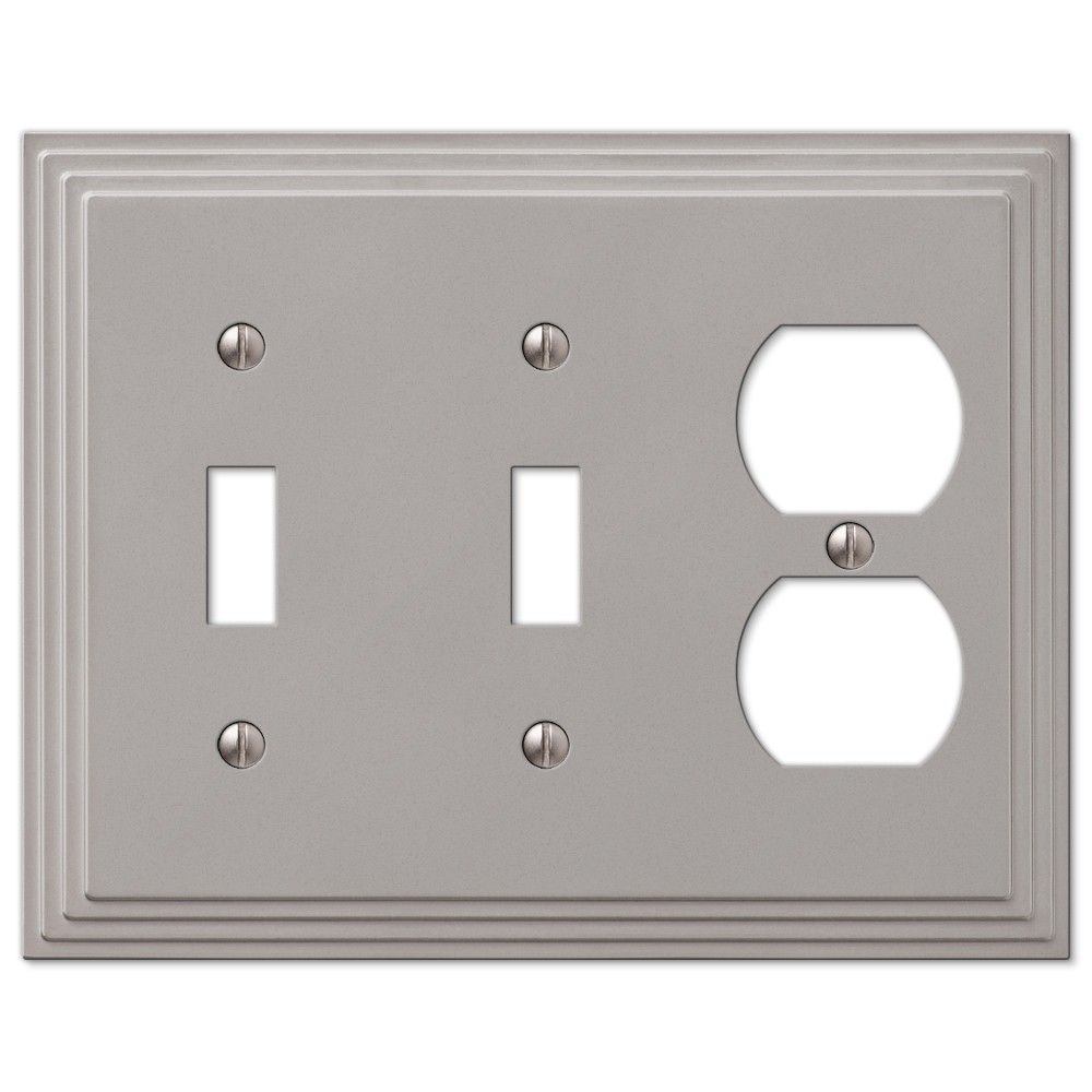 Lighting Wall Plates Amerelle Steps 84Ttdn Double Toggle & Duplex Combo Wallplate