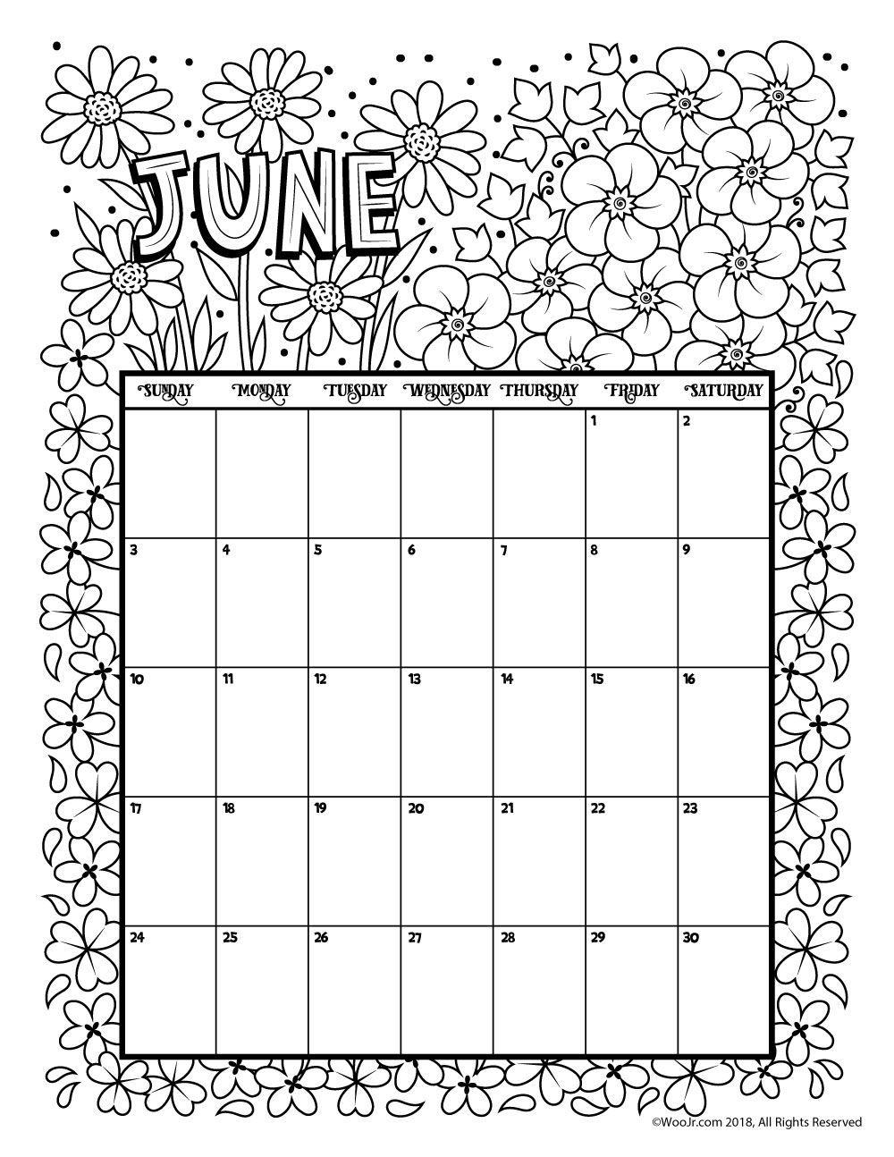 june 2018 coloring calendar page