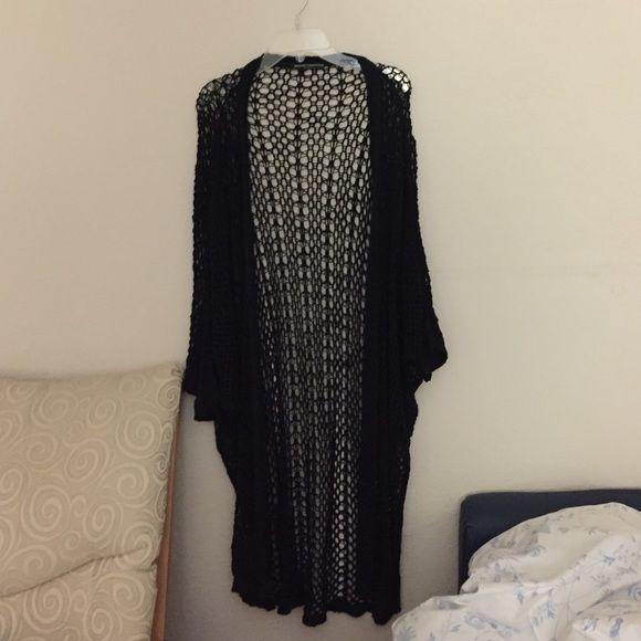 Black brandy Melville cardigan 3/4 sleeves, pretty long Brandy Melville Sweaters Cardigans