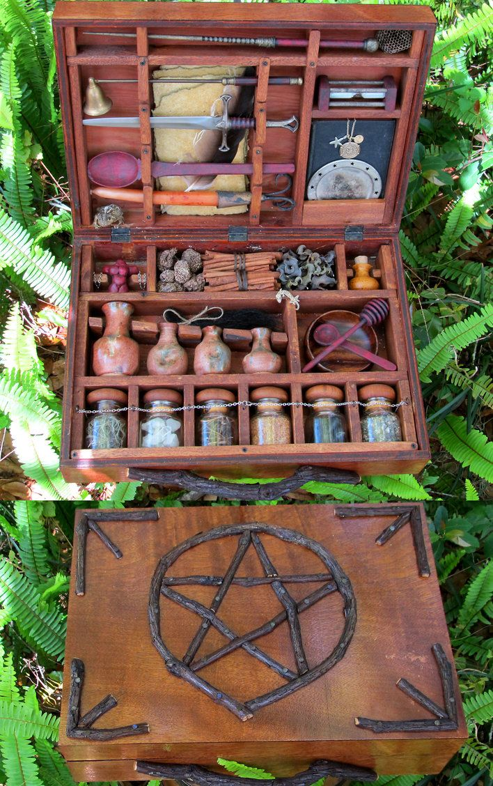 A Witches Brew Kit Complete With Assorted Ingredients Mixing