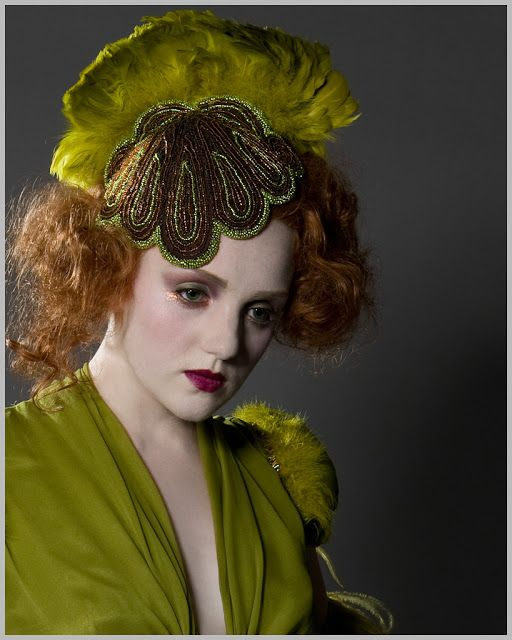 Fantastic beaded headpiece from Joanne Fleming Design. #green #chartreuse #bridal #wedding #silk #fascinator