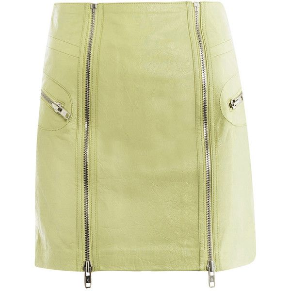 McQ Alexander McQueen Leather zip detail mini-skirt ($803) found on Polyvore