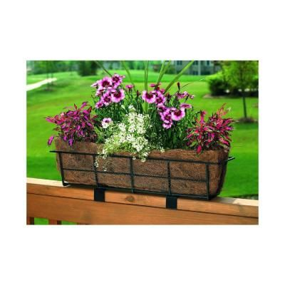 Cobraco Canterbury 7 In Steel Deck Rail Planter Dpbcb24 B The Home Depot Railing Planters Deck Railing Planters Planter Boxes Flowers