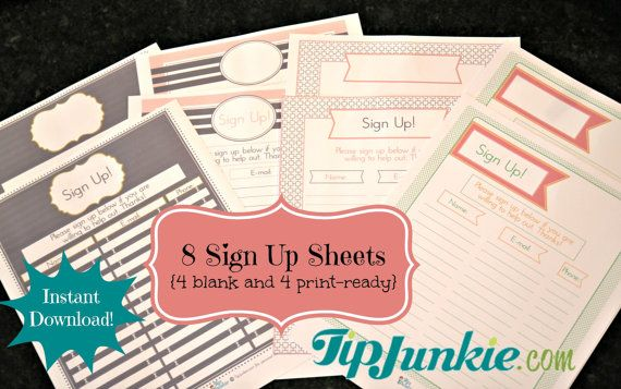 email sign-up sheet template - Google Search sign-up Pinterest