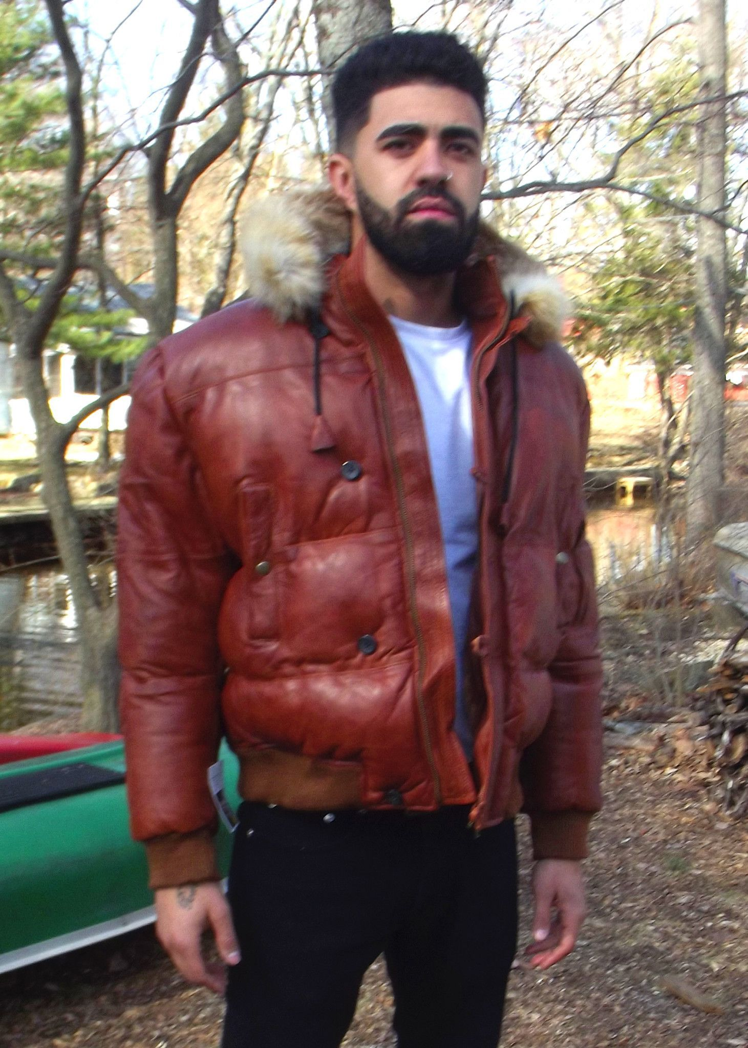 Mens Leather Jacket a Hooded Puffy style with Real Fur