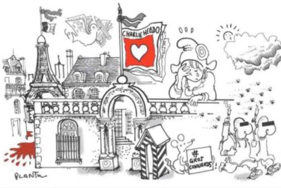 """""""Charlie Hebdo"""" : l'hommage des dessinateurs - Le Point -- by Plantu (France)"""