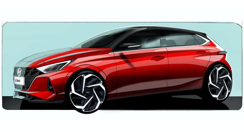 2020 Hyundai I20 Officially Teased Will Bring Sensuous Sportiness To Europe Carscoops In 2020 New Hyundai Hyundai Automotive Design