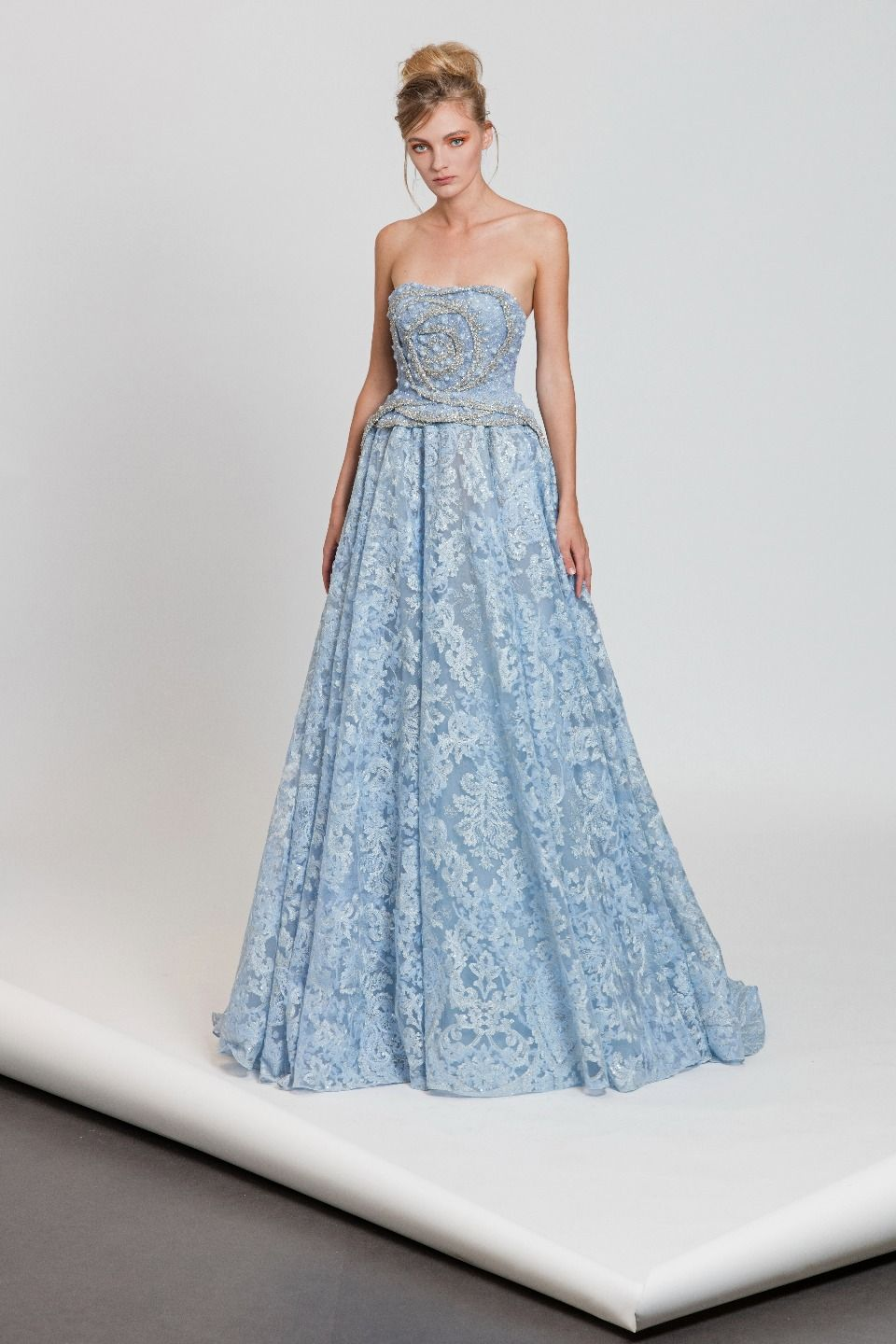 Pastel blue strapless A-line dress with rose-shaped pleating and ...