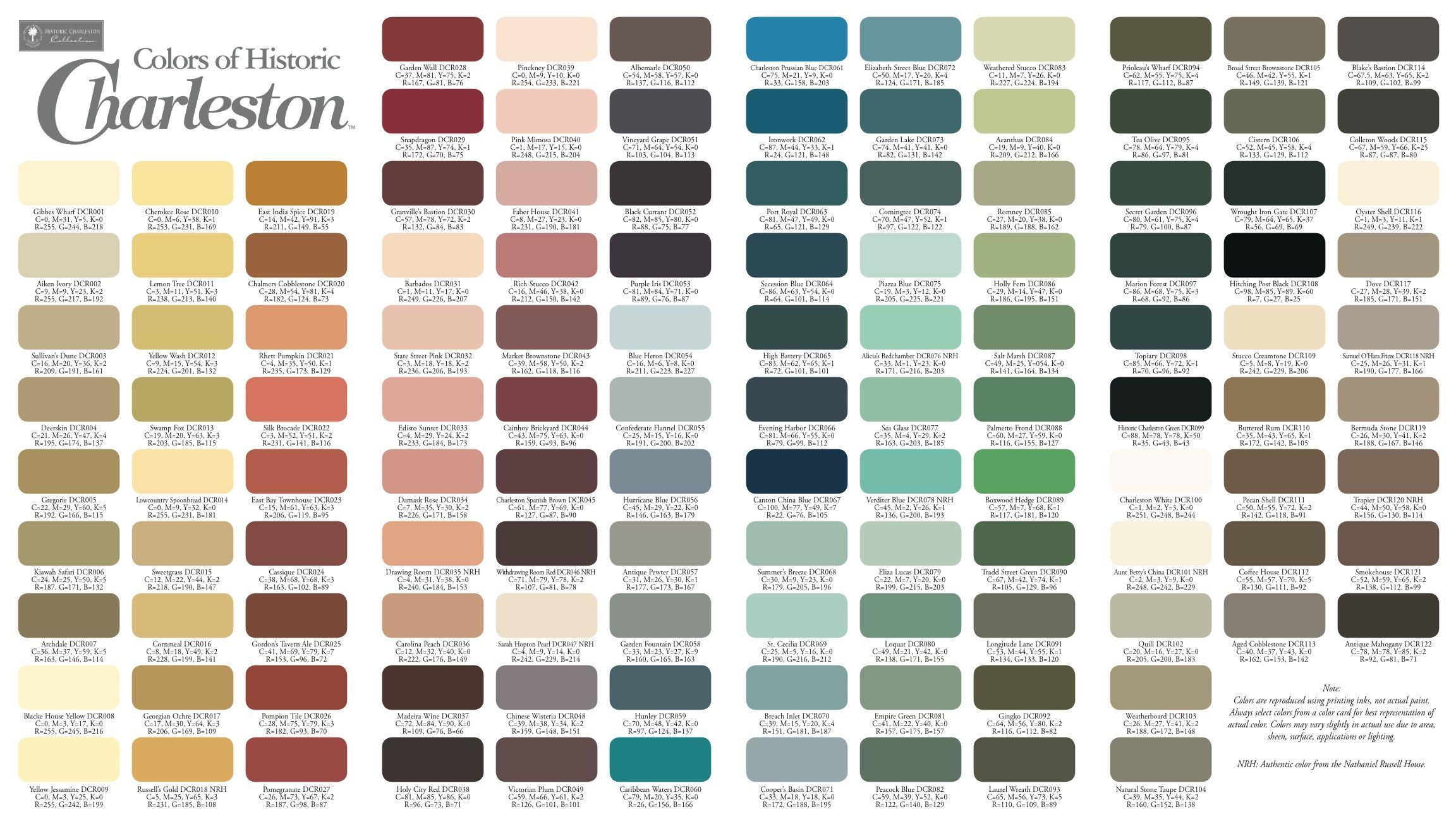 Colors Of Historic Charleston Historic Paint Colours Historic Paint Sherwin Williams Colors