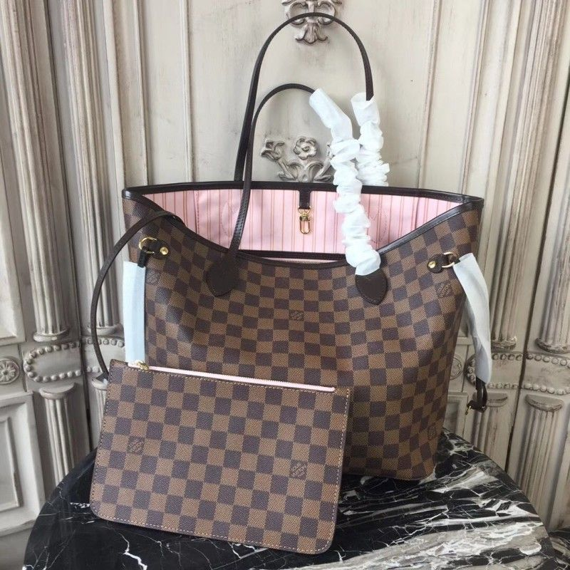 620ef4d57c33 Louis Vuitton N41603 Neverfull MM Damier Ebene Canvas Rose Ballerine ...