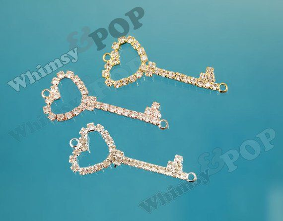 2 - DOLLAR SALE B-Grade Key Charms, Rhinestone Heart