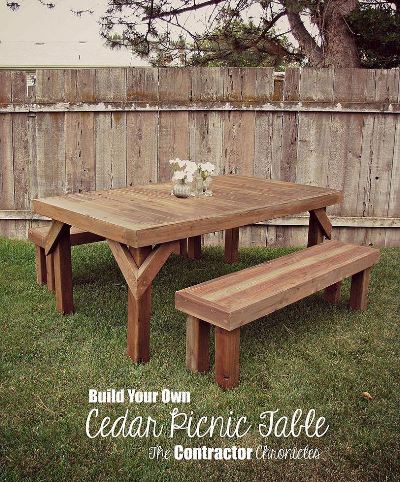 Kitchen Table Picnic Style: DIY Cedar Picnic Table
