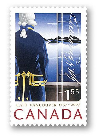 One of our better recent stamps, Captain Vancouver's naval coat.