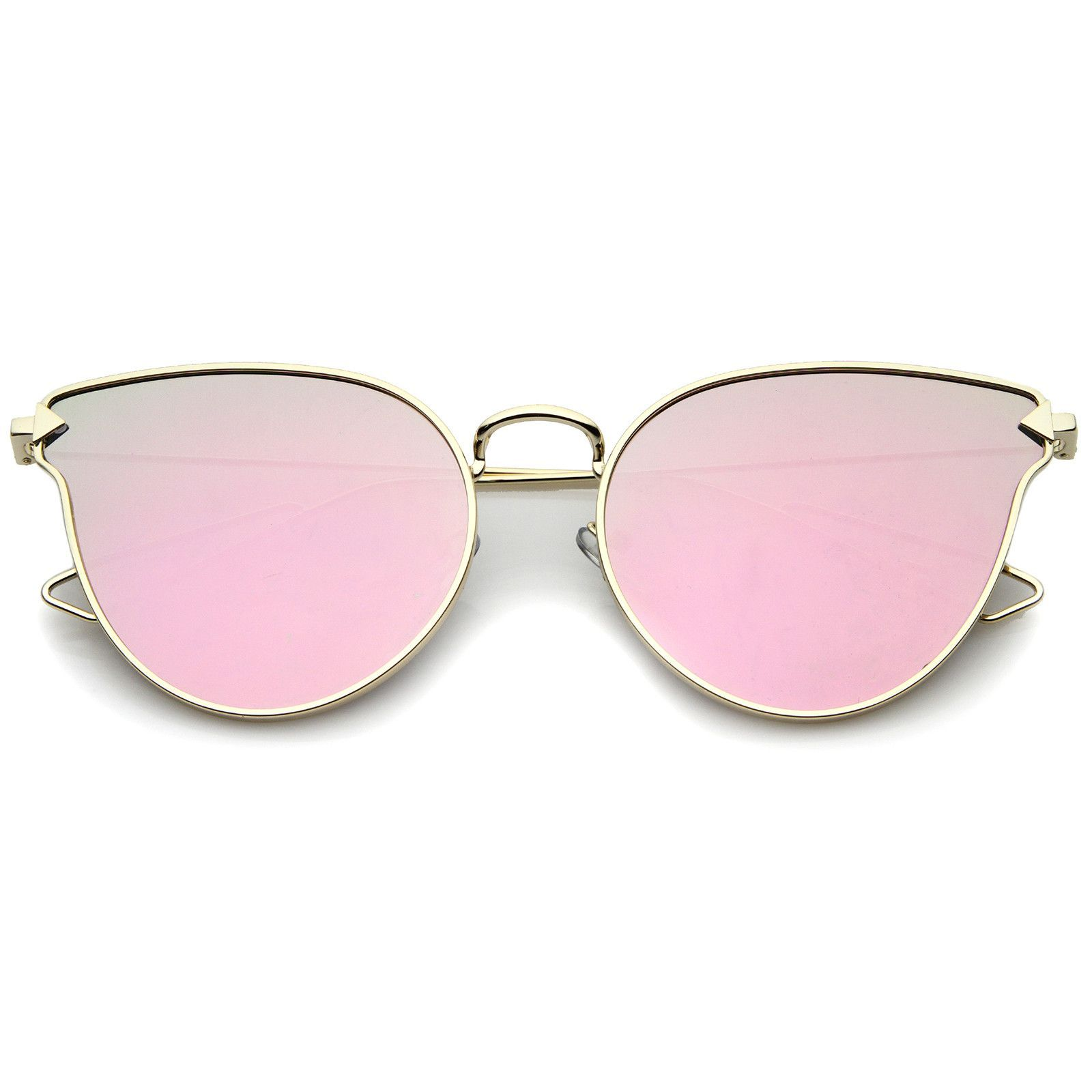 2b20eef9c9 Women s Metal Frame Arrow Temples Color Mirror Flat Lens Cat Eye Sunglasses  58mm