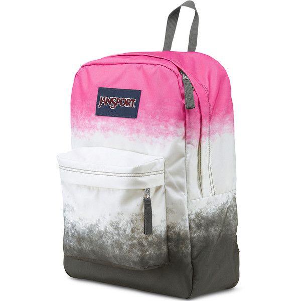 Jansport Superbreak Pink Ombre Backpack ($36) ❤ liked on Polyvore featuring bags, backpacks, jansport daypack, pocket backpack, polyester backpack, pink duffle bag and multi pocket backpack