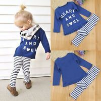 Toddler Kids Baby Girls Outfit Clothes T-shirt Tops+Long Pants Leggings 2PCS Set