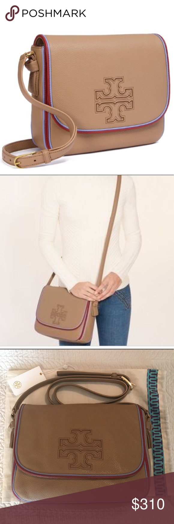 ec20318b2257 Authentic Tory Burch Harper Stripe Messenger Tory Burch Harper Stripe  Messenger Vintage Camel color with Redwood