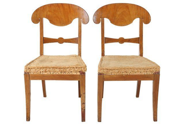 Biedermeier Style Chairs, Pair