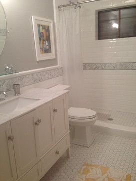 Stunning Bathroom White Bezel Edged Subway Tile Herringbone Marble Accent And Hexagon Floor Tiles