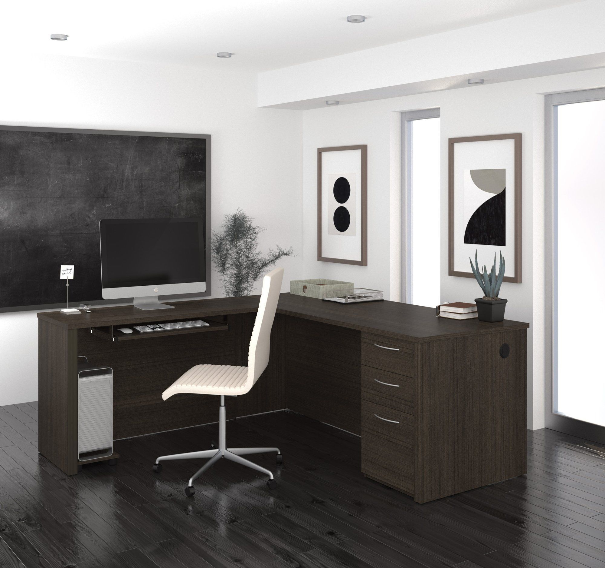 Modern 71 X 76 L Shaped Desk In Dark Chocolate Finish L Shaped
