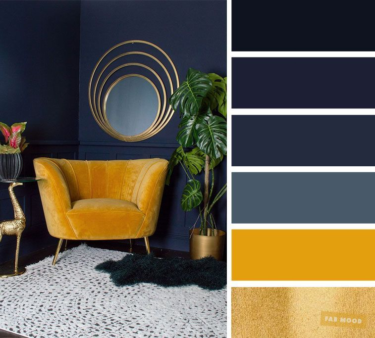 The best living room color schemes  Navy blue + yellow mustard and gold color schemes  Fabmood   Wedding Colors, Wedding Themes, Wedding color palettes is part of Blue living room - The living room is the place where friends and family gather to spend quality time in a home, so it's important for it to be welldesigned and have the right color  Living room color scheme ideas will help you to add harmonious shades to your home which give variety and feelings of calm