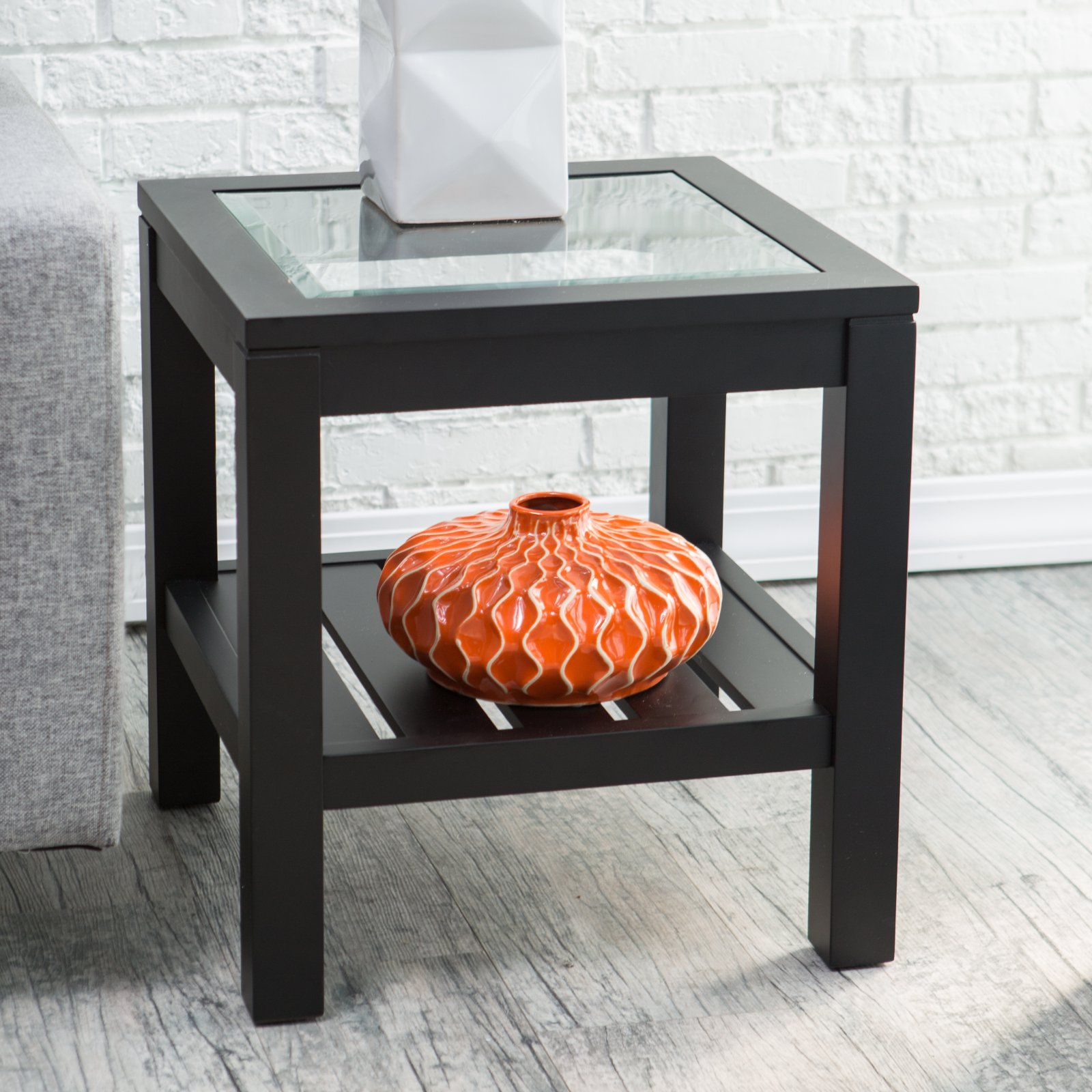 Sutton Glass Top End Table With Slat Bottom Glass Top End Tables