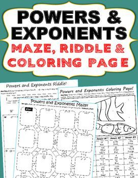 Powers Law Of Exponents Maze Riddle Color By Number Coloring