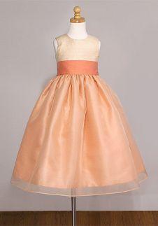 SEO_COMMON_KEYWORDS Ball Gown Jewel Tea Length Dupion Organza Flower Girl Dress Style 410
