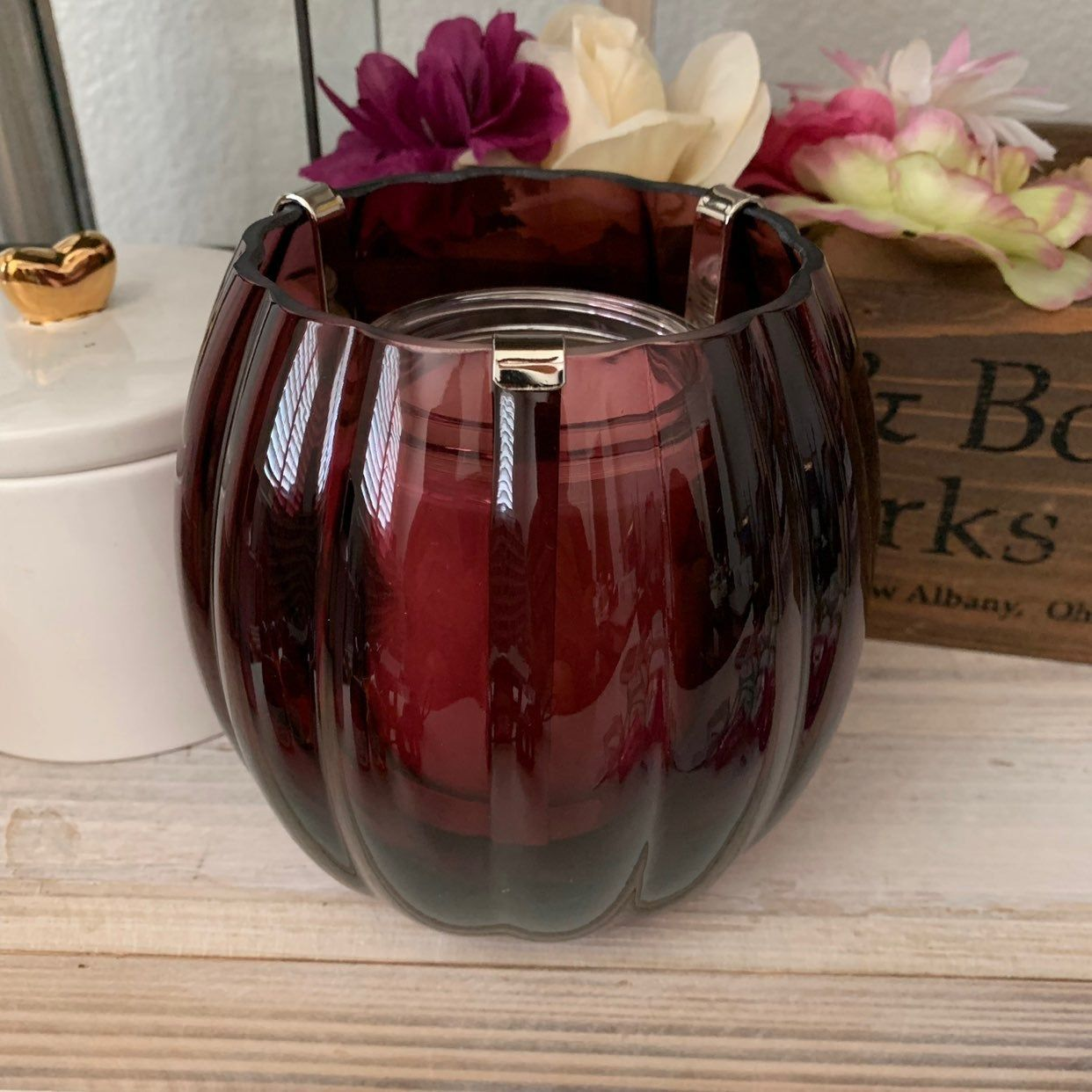 Bath Body Works Plum Glass Luminary Candle Holder Use With Single 1 Wick Candle Candle No Bath Body Works Candles Bath And Body Works Purple Candle Holders