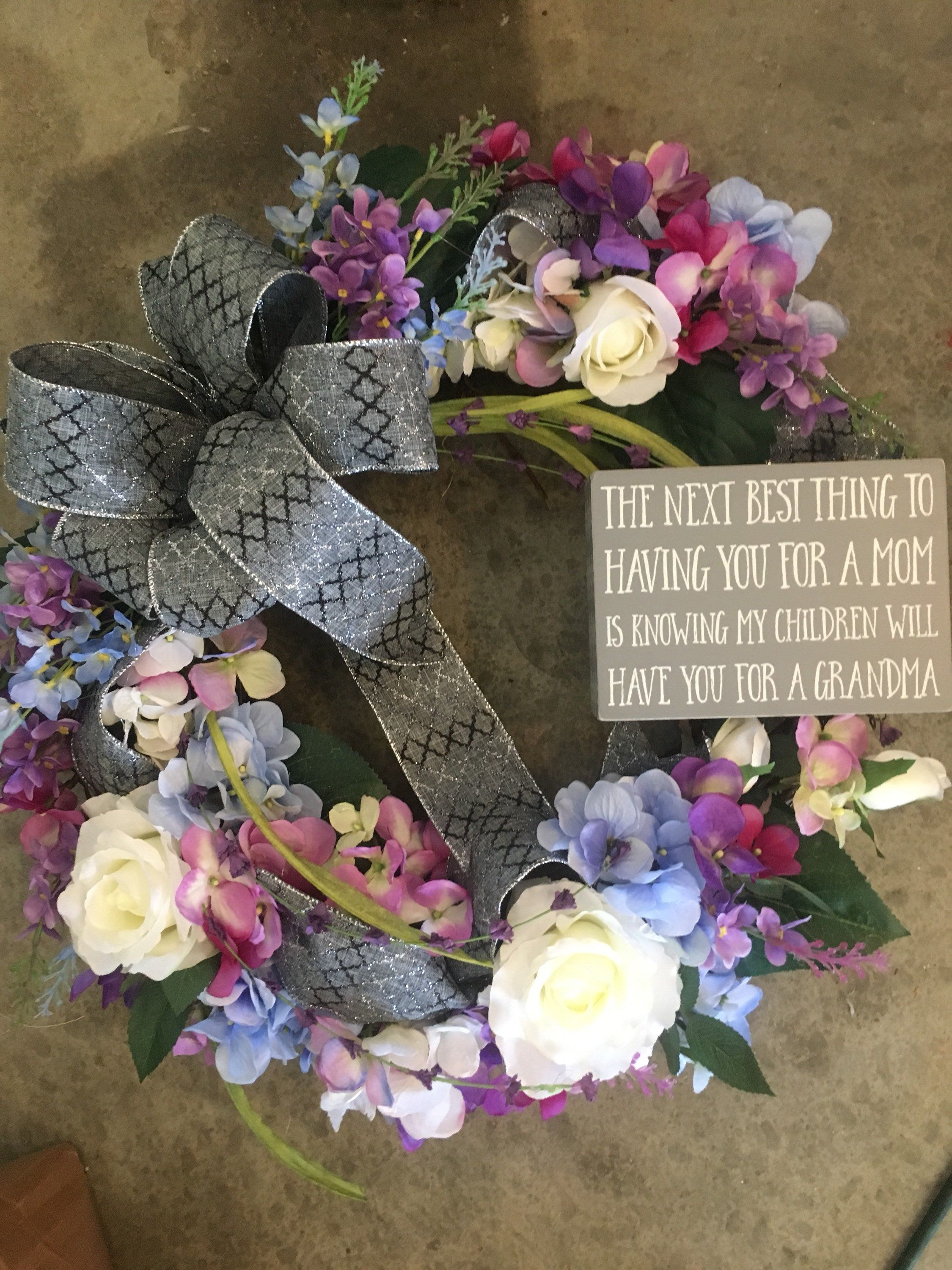 Photo of Grey Floral Grapevine Wreath, Grandmother Gifts, Floral Grapevine Wreath, Mother's Day Wreath, Grandma Floral Grapevine Wreath