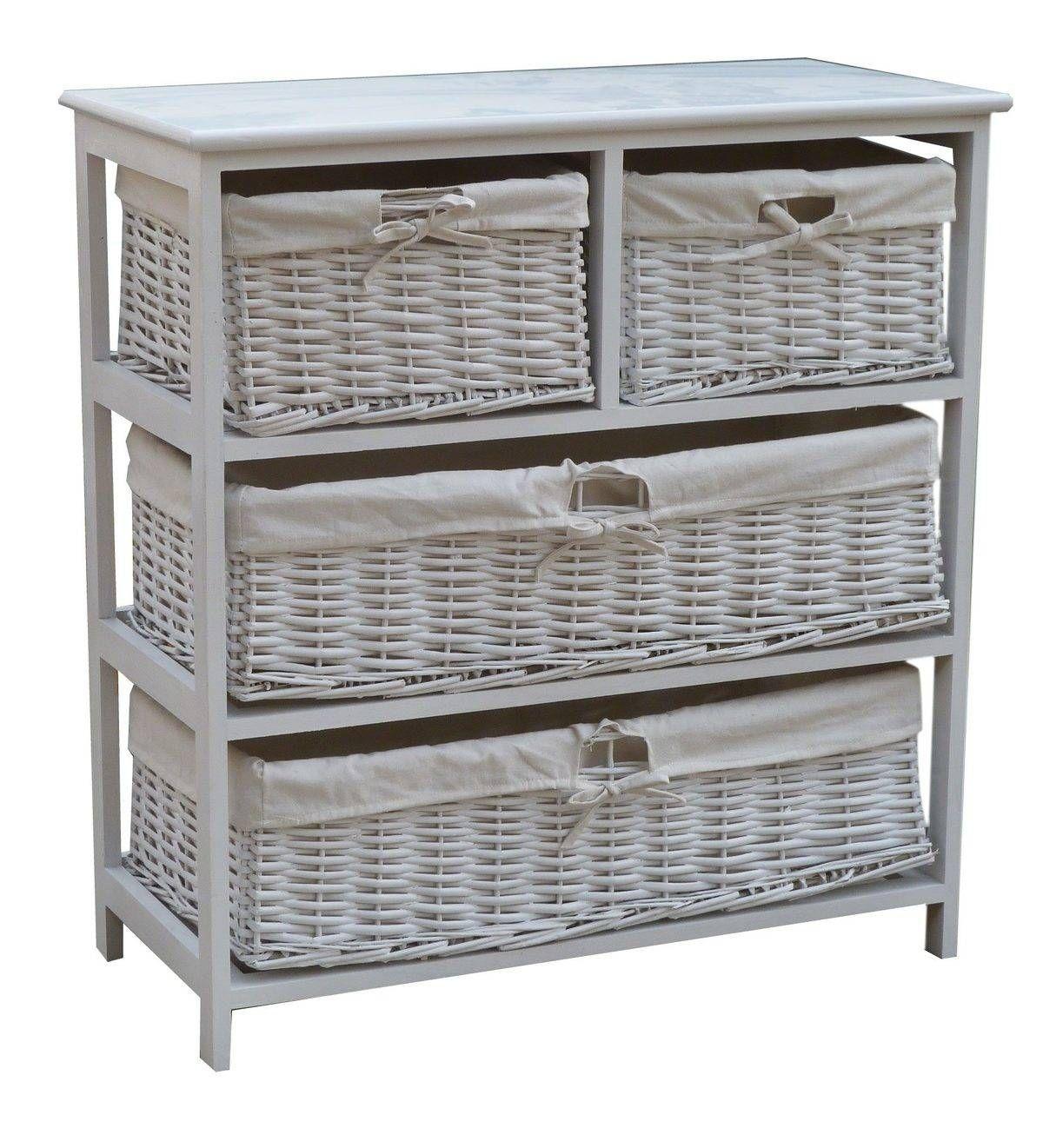 Wooden Storage Cabinet With Wicker Baskets Wooden Storage
